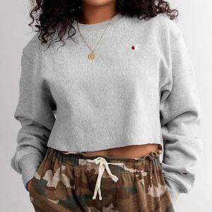 Champion Gray Reverse Weave Logo Crop Sweatshirt